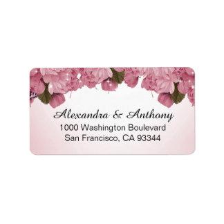Étiquette Roses roses de papillon épousant l'adresse de