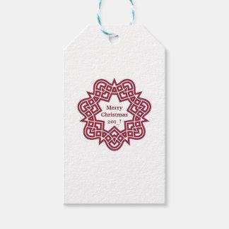 Étiquette rouge de cadeau d'étoile de Noël