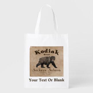 Étiquette saumoné de Kodiak vintage