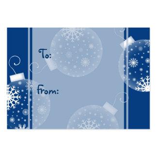 Étiquettes bleues de cadeau de décorations de carte de visite grand format