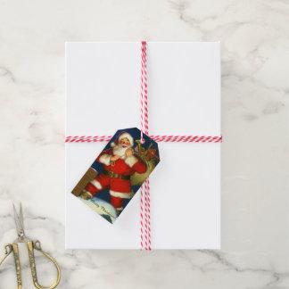 Étiquettes-cadeau De Père Noël vacances de Noël du nom 10 de votre