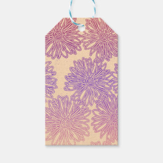 Étiquettes-cadeau Graphique floral d'arc-en-ciel