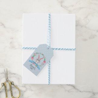 Étiquettes-cadeau Lapin gris et guirlande florale