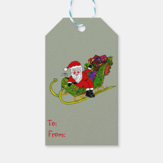 Étiquettes-cadeau Les bottes et le butin de Père Noël sur des