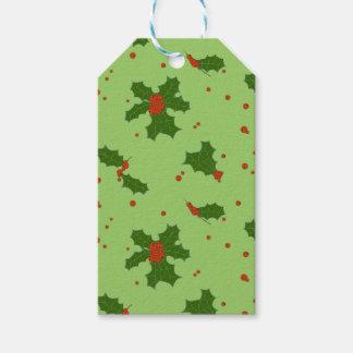 Étiquettes-cadeau L'hiver : Vert et rouge heureux de motif de jours