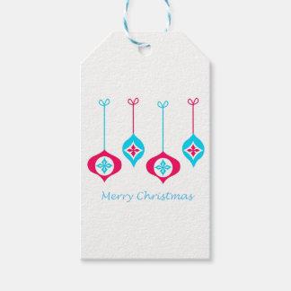 Étiquettes-cadeau Noël bleu et rouge ornemente le Joyeux Noël