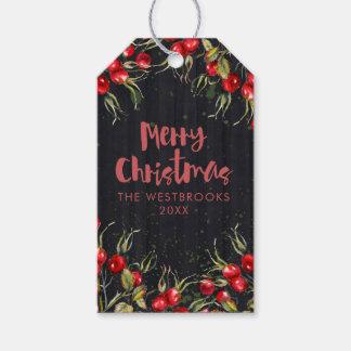 Étiquettes-cadeau Noël rouge de baie