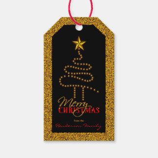 Étiquettes-cadeau Noir de Noël et arbre abstrait de Noël d'or