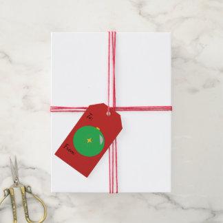 Étiquettes-cadeau Ornement de vert de Joyeux Noël sur le rouge