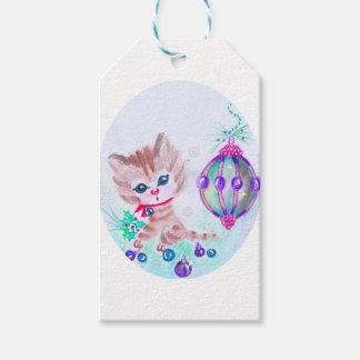 Étiquettes-cadeau Rétro Noël Kitty
