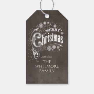 Étiquettes-cadeau Salutation vintage de vacances de Joyeux Noël