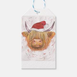 Étiquettes-cadeau vache des montagnes à roucoulement de Noël avec le