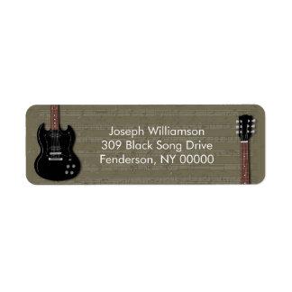 Étiquettes de adresse noirs de retour de guitare