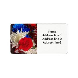 Étiquettes de adresse rouges, blancs et bleus