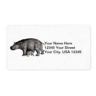 Étiquettes d'expédition d'hippopotame