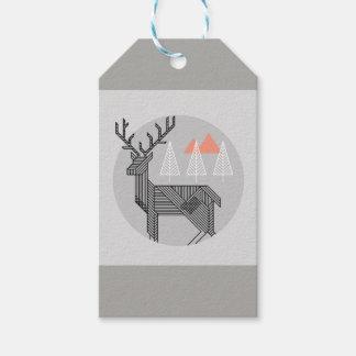 Étiquettes géométriques de Noël de renne