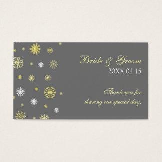 Étiquettes jaunes grises de faveur de mariage cartes de visite