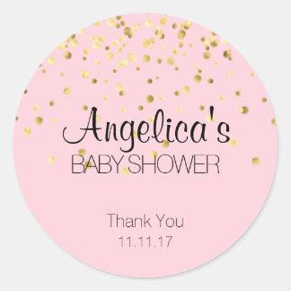 Étiquettes personnalisés de baby shower de rose et