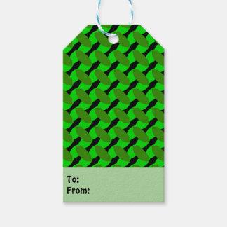 Étiquettes vertes de cadeau de dessin géométrique