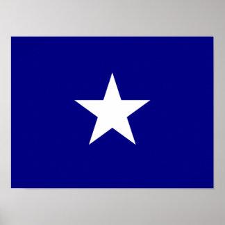 Étoile blanche mignonne de drapeau bleu poster