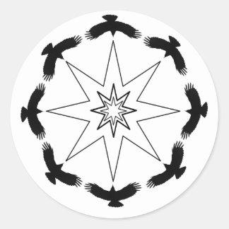 Étoile de huit corneilles sticker rond