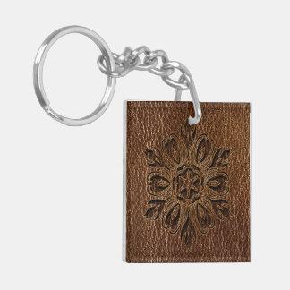 Étoile simili cuir de fleur porte-clé carré en acrylique double face