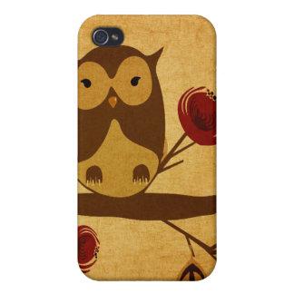 Étui iPhone 4/4S Caisse vintage de point de hibou