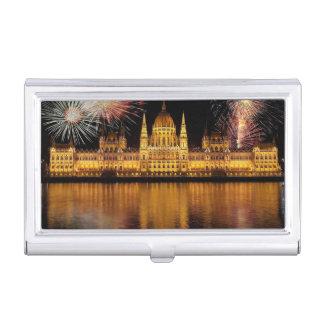 Étui Pour Cartes De Visite Le Parlement Hongrie de Budapest avec des feux