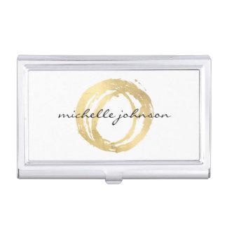 Étui Pour Cartes De Visite Logo de concepteur de cercle peint par or Luxe de