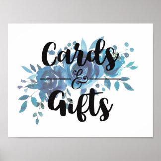 Etwas blaue Aquarell-Hochzeits-Karten u. Geschenke Poster