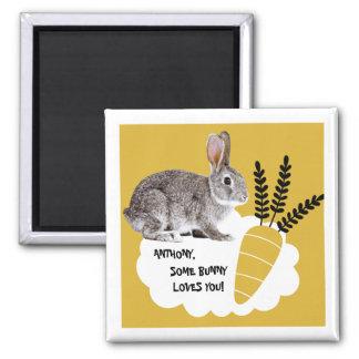 Etwas Häschen-Lieben Sie. Ostern-Geschenk-Magneten Quadratischer Magnet