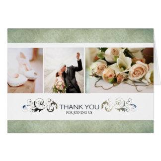 Etwas olivgrüne kundenspezifische Hochzeit danken Grußkarte