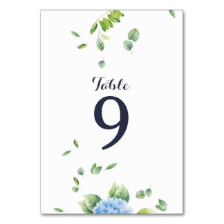 Eucalyptus Hydrangea Garden Wedding Table Card Karte