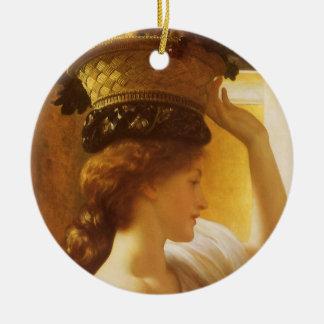 Eucharis - Mädchen mit einem Korb der Frucht durch Rundes Keramik Ornament