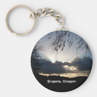 Eugene, Oregon-Sonnenuntergang Standard Runder Schlüsselanhänger