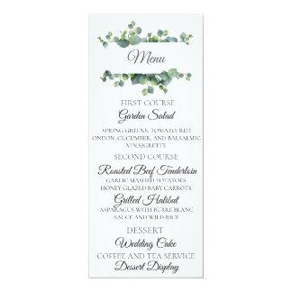 Eukalyptus-Blumenstrauß-Hochzeits-Menü-Karte Karte