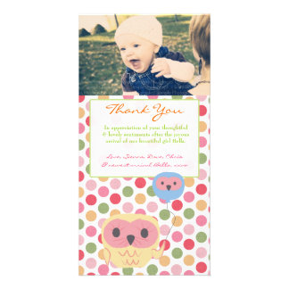 Eule danken Ihnen, Baby-Mädchen-Foto-Schablone zu Bilder Karten