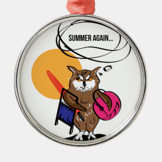 Eule, die Sommer T-Shirt hasst Silbernes Ornament