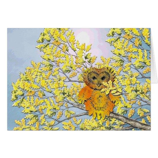 Eule im Baum Grußkarte