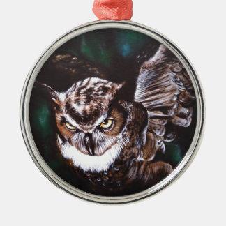 Eule in der Nacht Silbernes Ornament