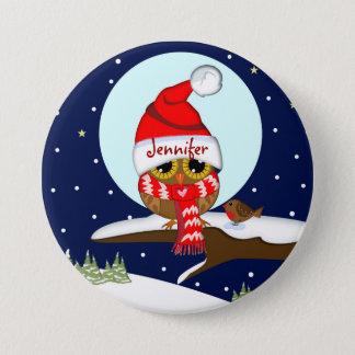 Eule mit Weihnachtsmannmütze u. Nameknopf Runder Button 7,6 Cm