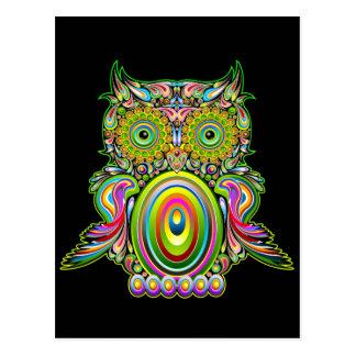 Eule psychedelische Popart Postkarte