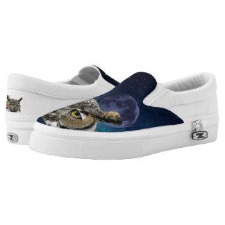 Eule und blauer Mond Slip-On Sneaker