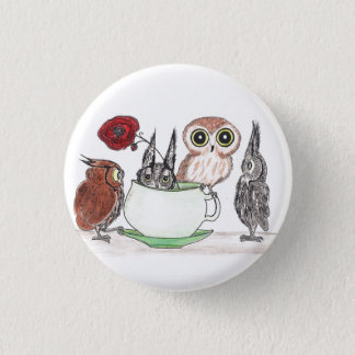 Eulen am Teatime Runder Button 3,2 Cm