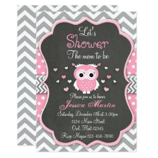 Eulen-Baby-Duschen-Einladung, Zickzack, Tafel Karte