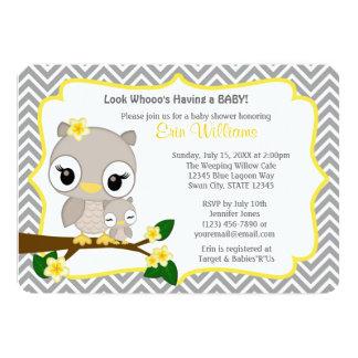 Eulen-Baby-Duscheneinladung Zickzack graues Gelb 12,7 X 17,8 Cm Einladungskarte