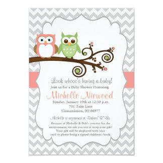 Eulen-Babyparty-Rosa-Einladung 12,7 X 17,8 Cm Einladungskarte