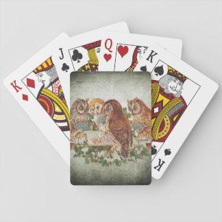 Eulen, die Poker spielen Spielkarten