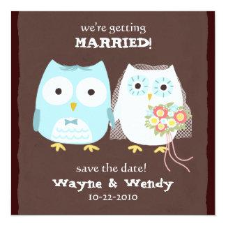 Eulen, die Save the Date Braut und Bräutigam Ankündigungskarte