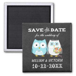 Eulen, die Save the Date Tafel-Art Wedding sind Quadratischer Magnet